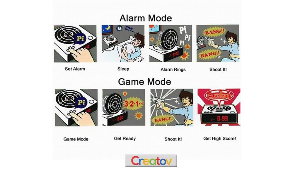 gun alarm clock instructions